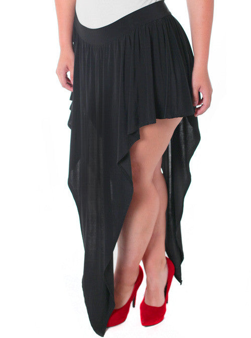 Plus Size Designer Open Leg Black Skirt