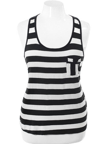 Plus Size Corset Back Stripe White Tank