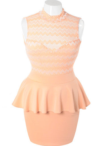 Plus Size See Through Peplum Sleeveless Peach Dress