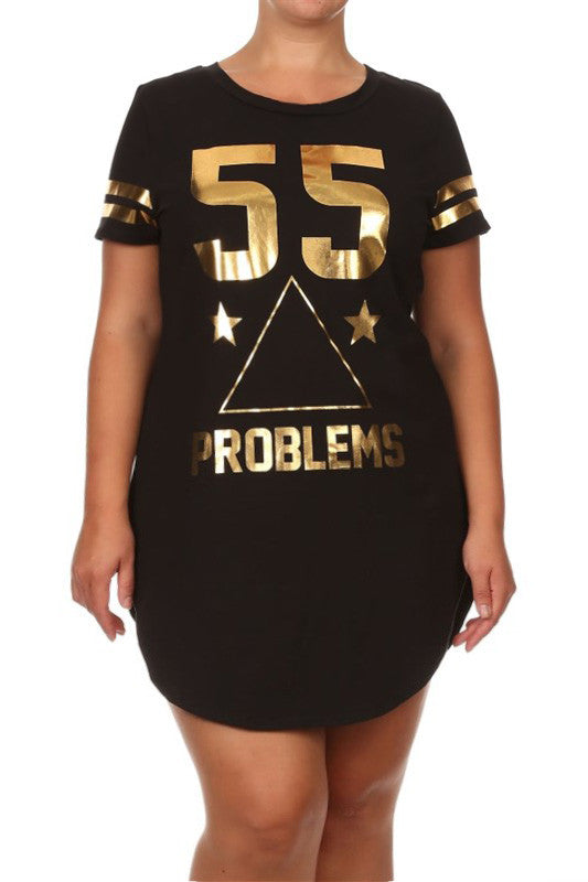 Plus Size Rihanna Gold Print Black Shirt Dress