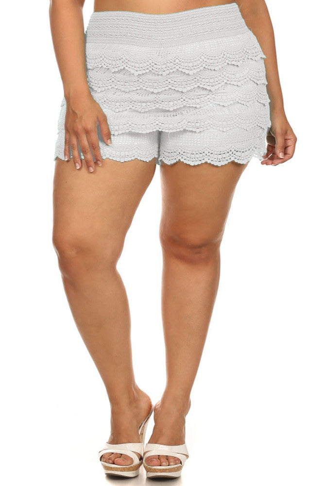Plus Size Layered Lace Banded Mini White Shorts