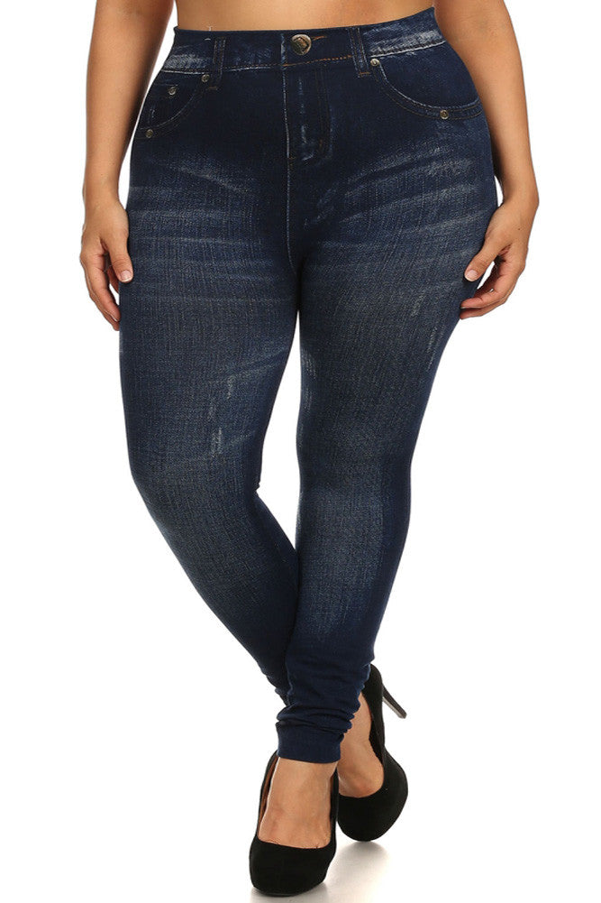 Plus Size Stretchy Distressed Blue Jeggings