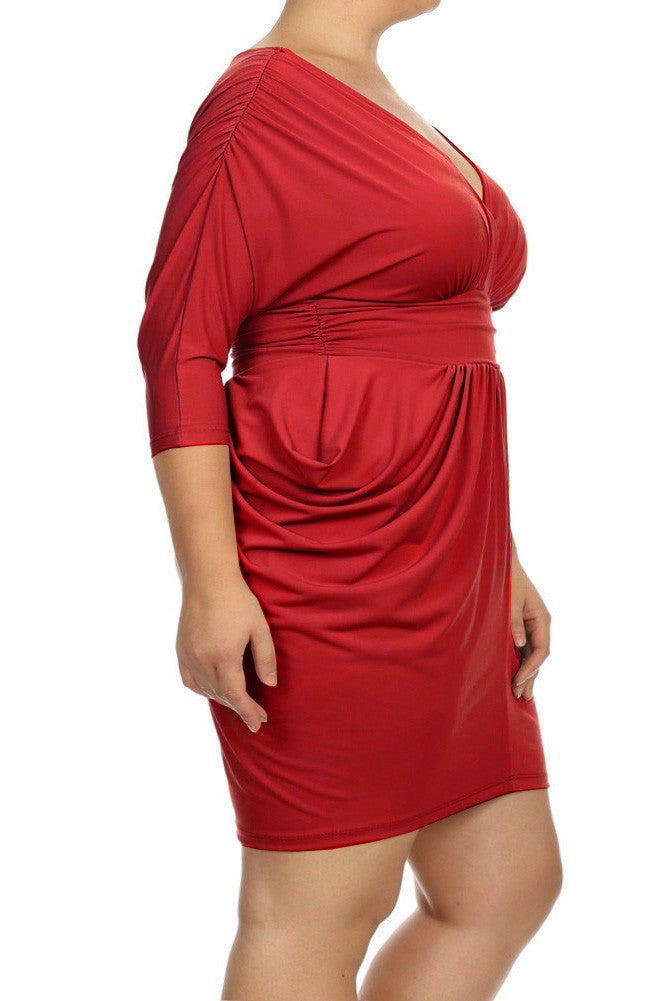 Plus Size Divine V Neck Pleated Ruby Red Dress