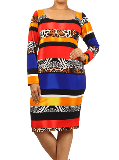 Plus Size Divine Safari Print Red Midi Dress