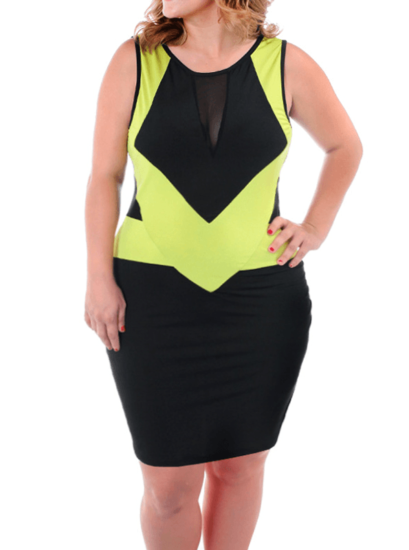 e6af23dea1e Plus Size Hot Colorblock Moss Green Bodycon Dress – Plussizefix