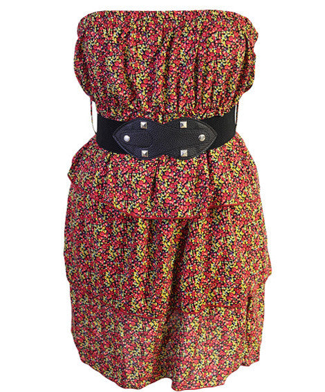 Plus Size Spanish Flower Belt Red Tube Dress