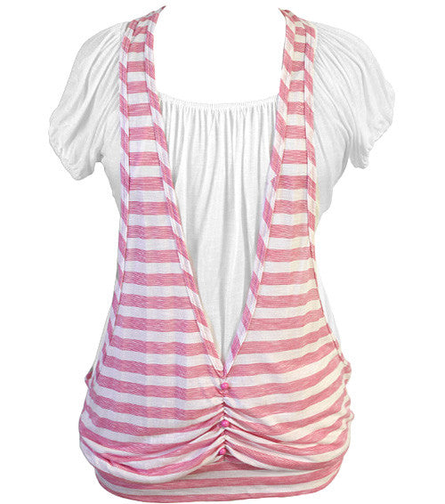 Plus Size Layered Stripe Pink Top