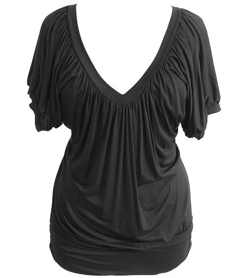 Plus Size Loose Deep V Neck Black Top