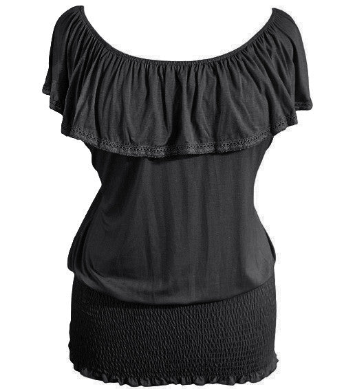 Plus Size Sexy Tiered Black Blouse