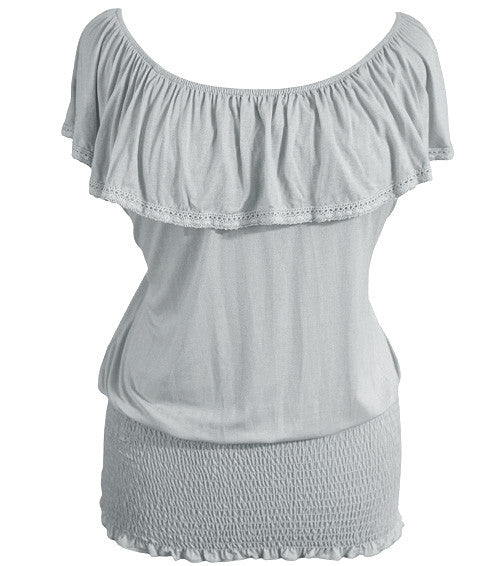 Plus Size Sexy Tiered Grey Blouse
