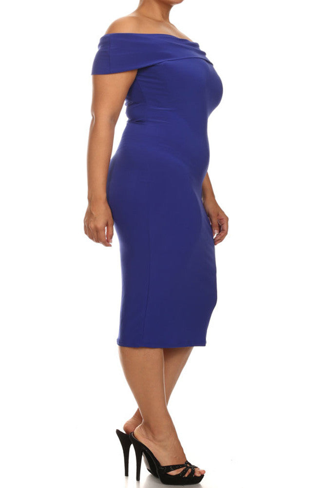 Plus Size Sweet Talker Off The Shoulders Blue Midi Dress