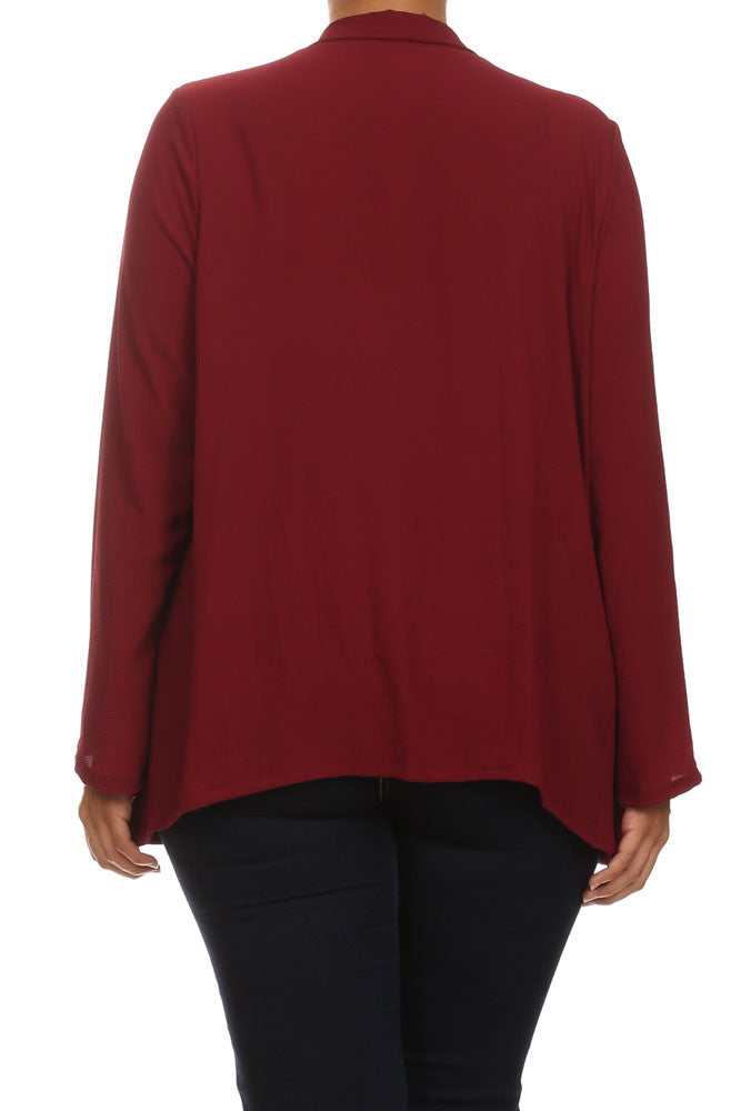Plus Size Friday Night Draped Sheer Burgundy Cardigan