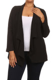 Plus Size Friday Night Draped Sheer Black Cardigan