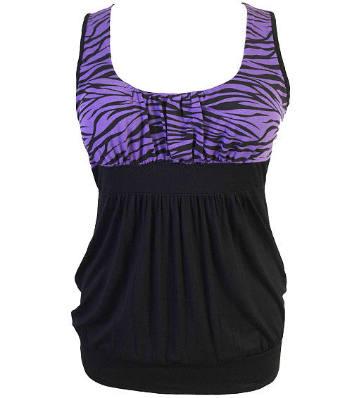 Plus Size Sexy Zebra Purple Tank Top