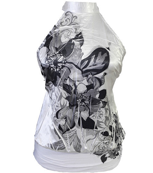Plus Size Silky Floral White Halter