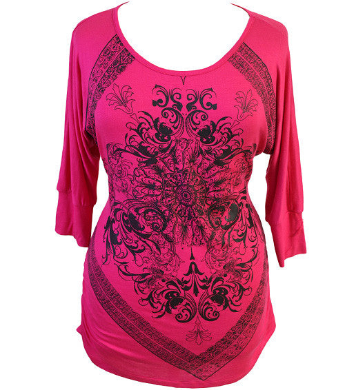 Plus Size Rock Star Pink Shirt