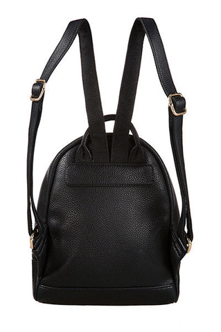 Snake Skin Textured Mini Backpack Black