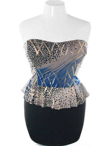 Plus Size Trendy Gold Leopard Peplum Blue Dress