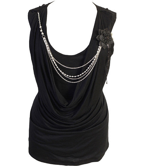 Plus Size Layered Sexy Chain Black Top