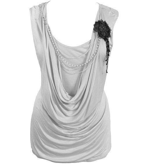 Plus Size Layered Sexy Chain Grey Top