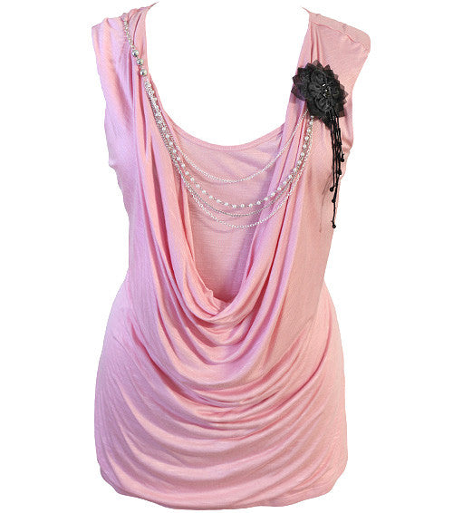 Plus Size Layered Sexy Chain Pink Top