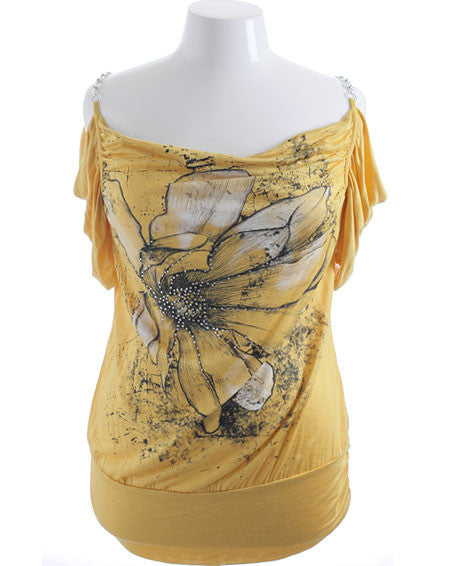 Plus Size Diamond Chain Strap Yellow Top