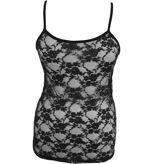 Plus Size See Through Lace Black Tank