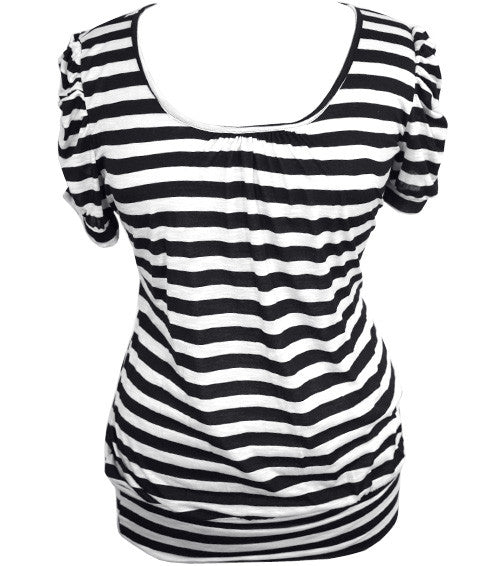 Plus Size Open Back Stripe Black Top