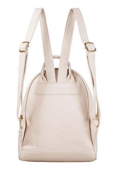 Snake Skin Textured Mini Backpack Ivory