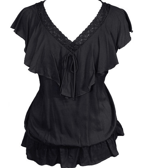 Plus Size Ruffle Layered Black Top