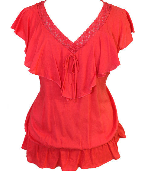 Plus Size Ruffle Layered Red Top