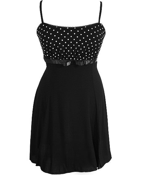 Plus Size Polka Dot Layered Skirt Dress