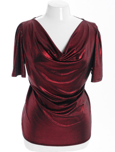 Plus Size Sexy Metallic Red Open Back Top