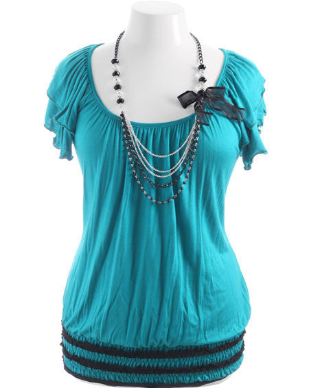 Plus Size Sexy Bead Necklace Teal Top