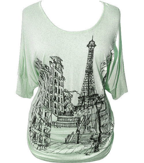 Plus Size Loose Paris Design Green Top
