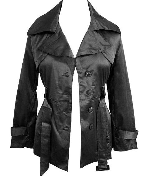 Plus Size City Girl Satin Black Coat