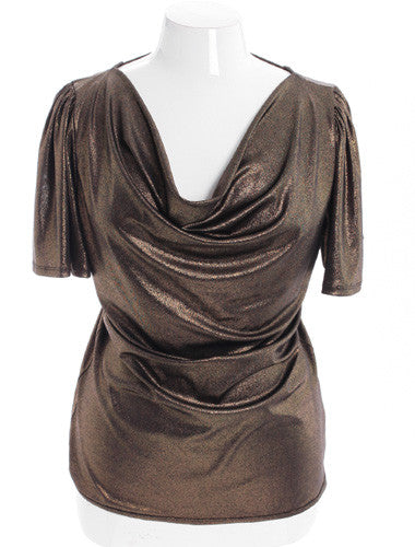 Plus Size Sexy Metallic Gold Open Back Top