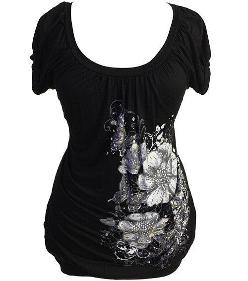 Plus Size Sexy Sparkling Floral Black Top