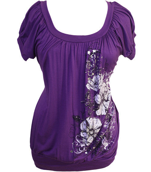 Plus Size Sexy Sparkling Floral Purple Top