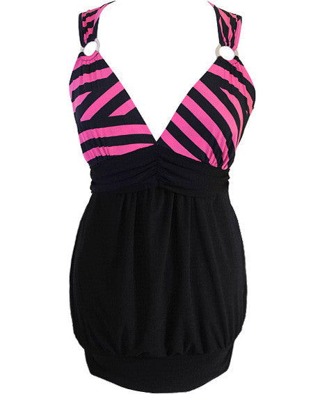 Plus Size Silky Stripe Pink Mini Club Dress