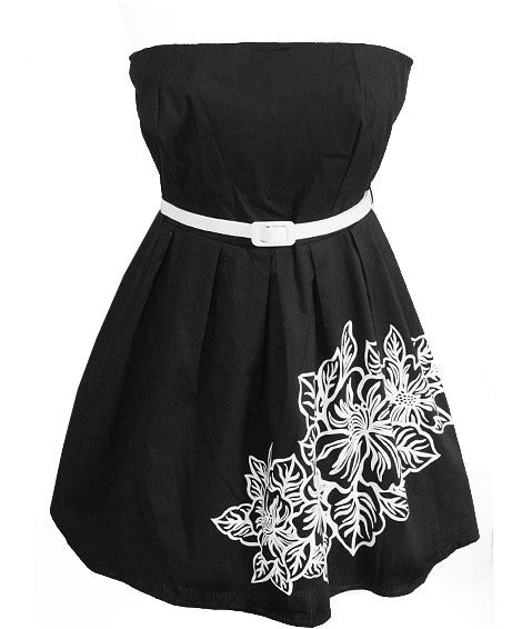 Plus Size Adorable Cotton Black Tube Dress
