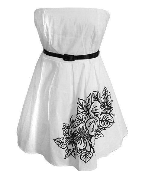 Plus Size Adorable Cotton White Tube Dress