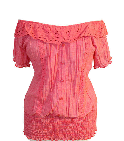 Plus Size Stretchy Collar Pleat Pink Blouse