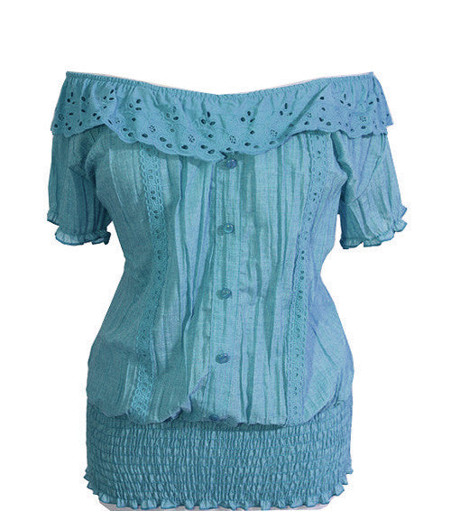 Plus Size Stretchy Collar Pleat Teal Blouse
