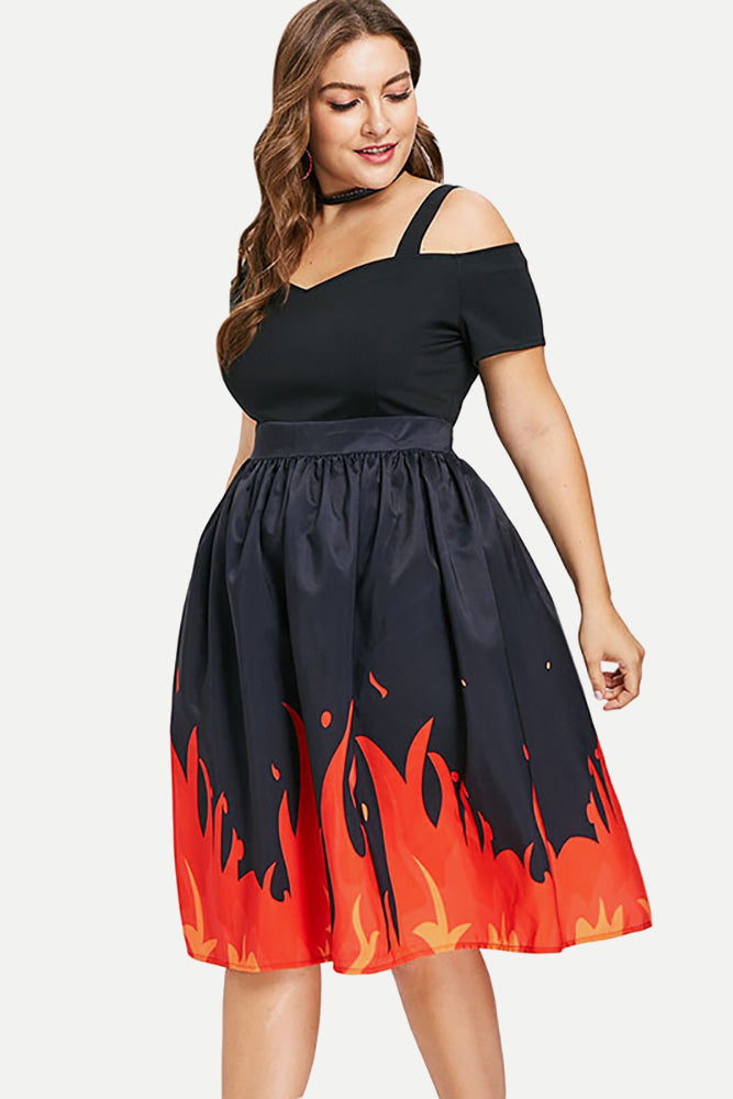 Plus Size Flame Sweetheart Off Shoulder Midi Dress