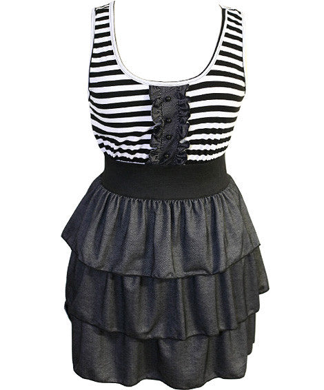 Plus Size Denim Skirt Stripe Dress