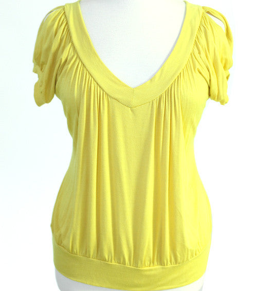 Plus Size Sexy Open Shoulder Yellow Top