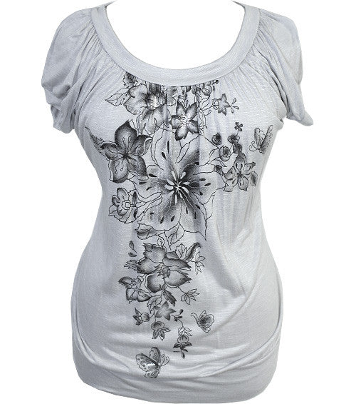 Plus Size Textured Floral Grey Top