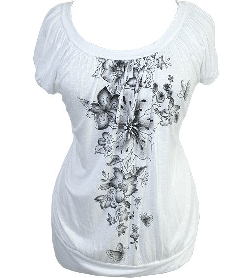 Plus Size Textured Floral White Top