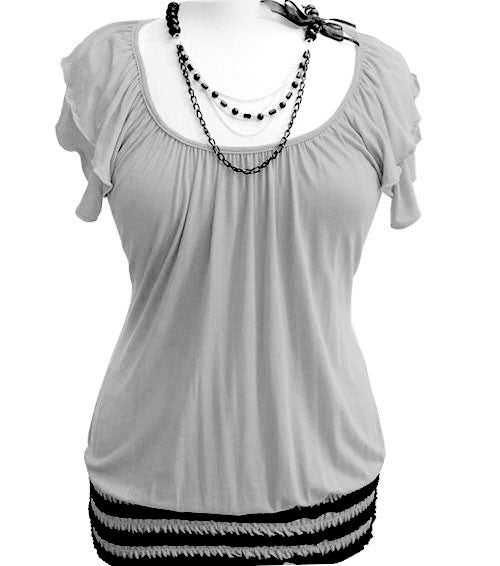 Plus Size Sexy Bead Necklace Grey Top
